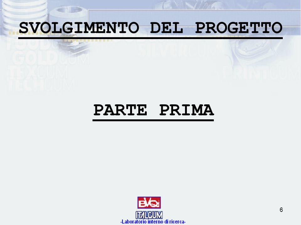 6 SVOLGIMENTO DEL PROGETTO PARTE PRIMA