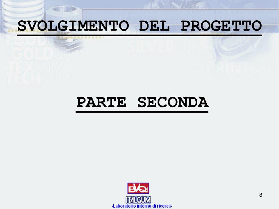 8 SVOLGIMENTO DEL PROGETTO PARTE SECONDA
