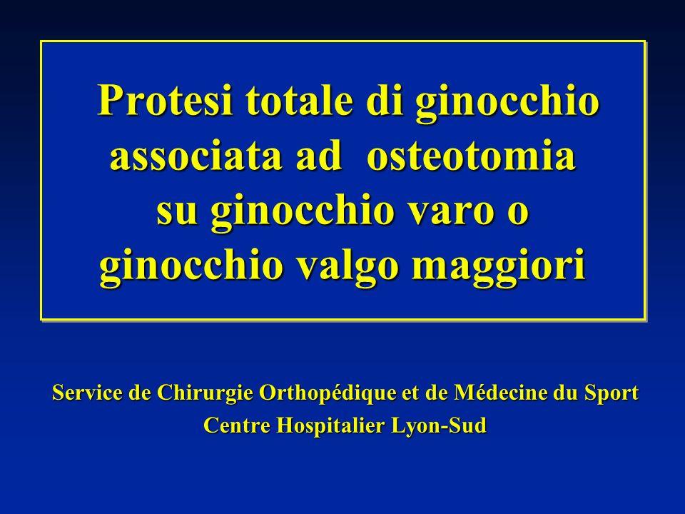 Un solo intervento interlinea conservata ed equilibrio legamentoso preservato VANTAGGI INCONVENIENTI Difficoltà tecniche Consolidazione dellosteotomia più lenta OSTEOTOMIA prima, poi PTG