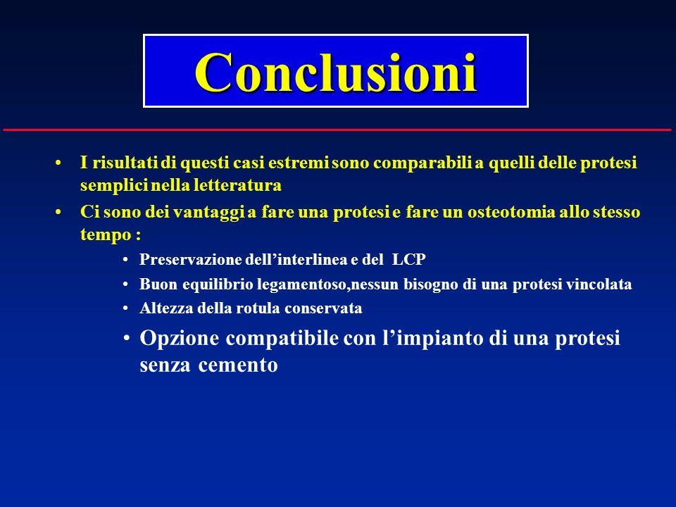 I risultati di questi casi estremi sono comparabili a quelli delle protesi semplici nella letteratura Ci sono dei vantaggi a fare una protesi e fare u