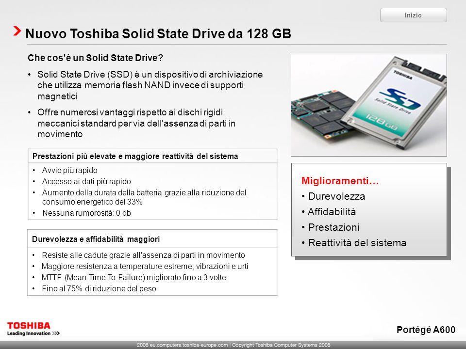 Miglioramenti… Durevolezza Affidabilità Prestazioni Reattività del sistema Miglioramenti… Durevolezza Affidabilità Prestazioni Reattività del sistema Nuovo Toshiba Solid State Drive da 128 GB Che cos è un Solid State Drive.