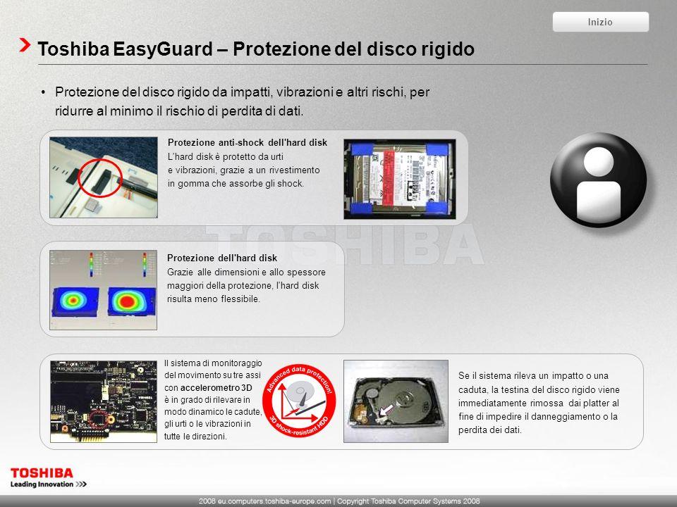 Toshiba EasyGuard – Protezione del disco rigido Protezione del disco rigido da impatti, vibrazioni e altri rischi, per ridurre al minimo il rischio di perdita di dati.