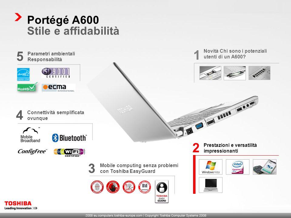 Mobile computing senza problemi con Toshiba EasyGuard 3 Portégé A600 Stile e affidabilità Parametri ambientali Responsabilità 5 Connettività semplificata ovunque 4 Prestazioni e versatilità impressionanti 2 Novità Chi sono i potenziali utenti di un A600.