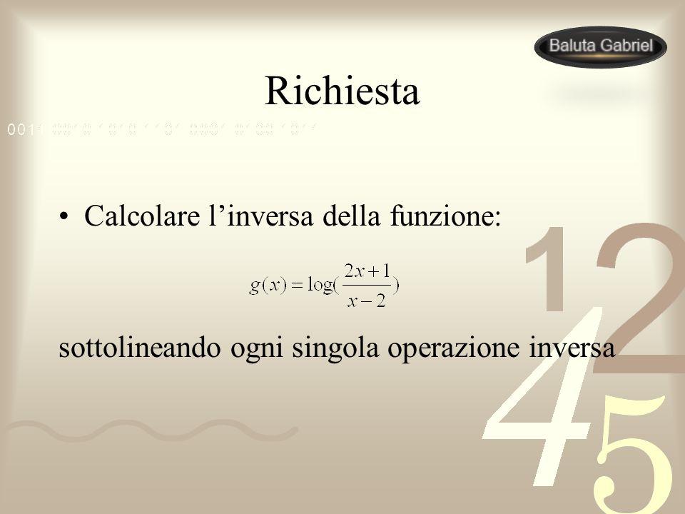 Richiesta Calcolare linversa della funzione: sottolineando ogni singola operazione inversa