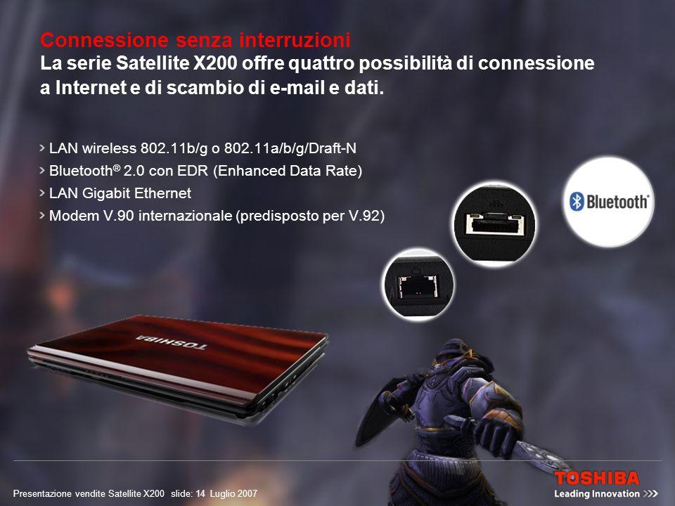 Presentazione vendite Satellite X200 slide: 13 Luglio 2007 Scaricare giochi non è mai stato così facile Connettersi è più facile che mai – ovunque siate – con la connettività LAN wireless 802.11a/b/g/Draft-N integrata.