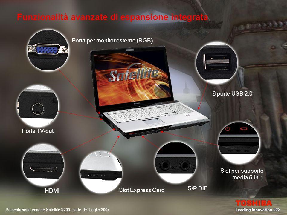 Presentazione vendite Satellite X200 slide: 14 Luglio 2007 Connessione senza interruzioni La serie Satellite X200 offre quattro possibilità di connessione a Internet e di scambio di e-mail e dati.