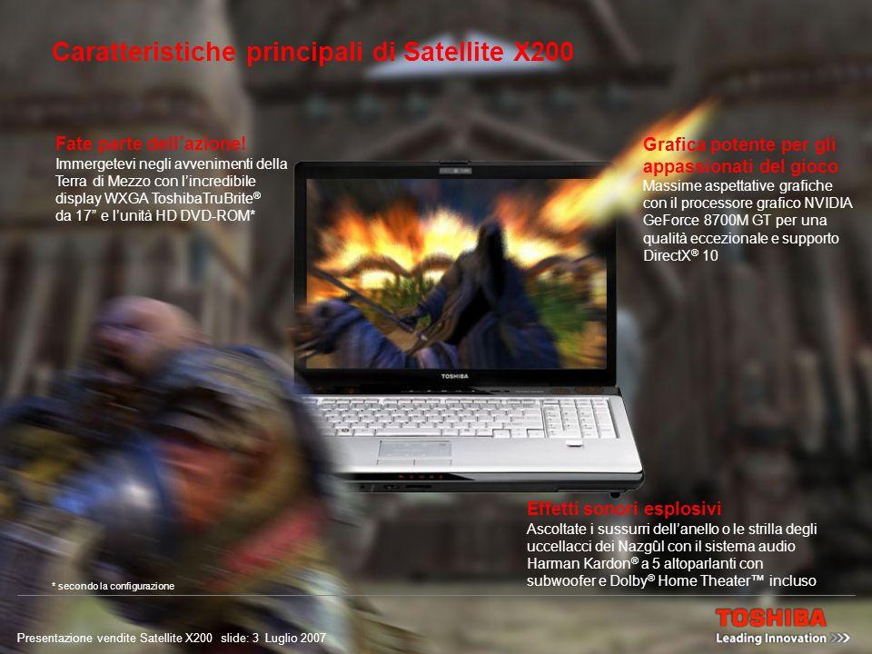 Presentazione vendite Satellite X200 slide: 2 Luglio 2007 Posizionamento: Puro divertimento Satellite X200 offre ai puristi del gioco: Acquistate il biglietto per unemozione di gioco alladrenalina.