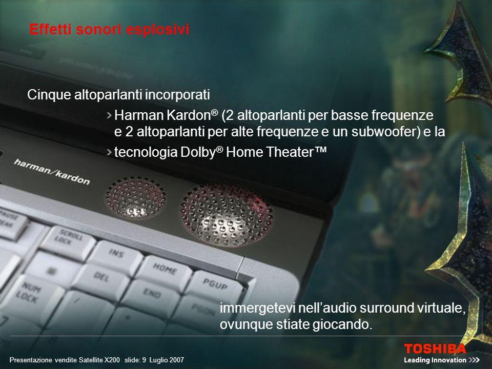 Presentazione vendite Satellite X200 slide: 8 Luglio 2007 Interfaccia HDMI Collegate il vostro Satellite X200 ad un televisore esterno tramite luscita TV e godetevi i vostri giochi ad alta definizione e in un formato ancora più ampio, grazie al connettore HDMI con supporto fino a 1.080p.