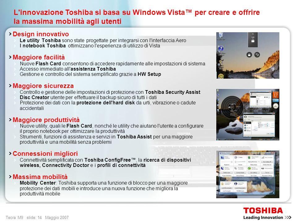Tecra M9 slide: 13 Maggio 2007 Progettato per una mobilità senza precedenti Windows Vista Business è il sistema operativo pensato per le organizzazion