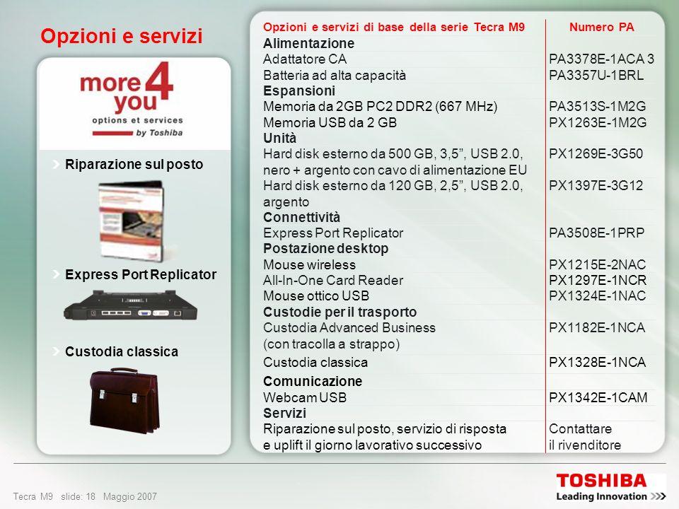 Tecra M9 slide: 17 Maggio 2007 Design e facilità di utilizzo Interruttore di accensione/ spegnimento wireless Toshiba Attivazione e disattivazione del