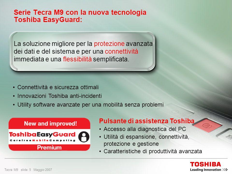 Tecra M9 slide: 4 Maggio 2007 Perché scegliere Tecra M9? Concezione del prodotto: Prestazioni on demand Protezione e affidabilità superiori Soluzioni