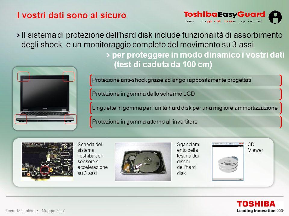 Tecra M9 slide: 6 Maggio 2007 Il sistema di protezione dell hard disk include funzionalità di assorbimento degli shock e un monitoraggio completo del movimento su 3 assi Protezione in gomma attorno all invertitore Linguette in gomma per l unità hard disk per una migliore ammortizzazione Protezione in gomma dello schermo LCD Protezione anti-shock grazie ad angoli appositamente progettati I vostri dati sono al sicuro Scheda del sistema Toshiba con sensore si accelerazione su 3 assi Sganciam ento della testina dai dischi dell hard disk 3D Viewer per proteggere in modo dinamico i vostri dati (test di caduta da 100 cm)