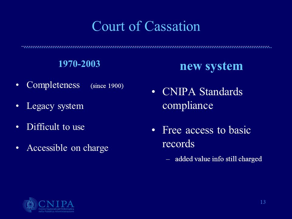 13 Court of Cassation 1970-2003 Completeness (since 1900) Legacy system Difficult to use Accessible on charge new system CNIPA Standards compliance Free access to basic records –added value info still charged