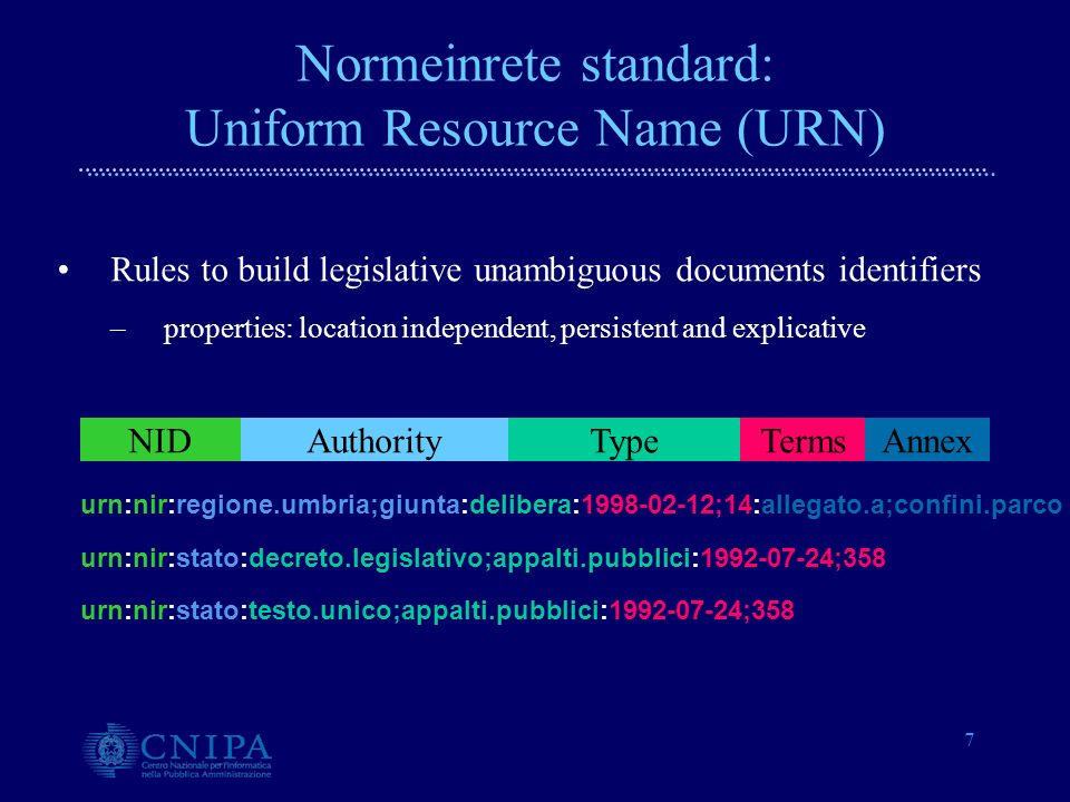 7 Normeinrete standard: Uniform Resource Name (URN) urn:nir:stato:testo.unico;appalti.pubblici:1992-07-24;358 urn:nir:regione.umbria;giunta:delibera:1998-02-12;14:allegato.a;confini.parco urn:nir:stato:decreto.legislativo;appalti.pubblici:1992-07-24;358 AuthorityTypeTermsAnnexNID Rules to build legislative unambiguous documents identifiers –properties: location independent, persistent and explicative