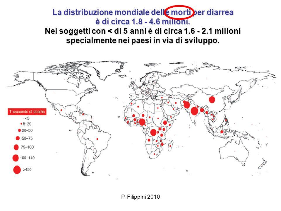 P. Filippini 2010 La distribuzione mondiale delle morti per diarrea è di circa 1.8 - 4.6 milioni. Nei soggetti con < di 5 anni è di circa 1.6 - 2.1 mi
