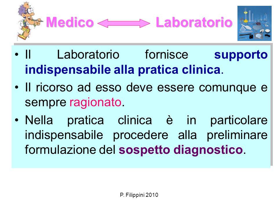 P. Filippini 2010 Medico Laboratorio Il Laboratorio fornisce supporto indispensabile alla pratica clinica. Il ricorso ad esso deve essere comunque e s
