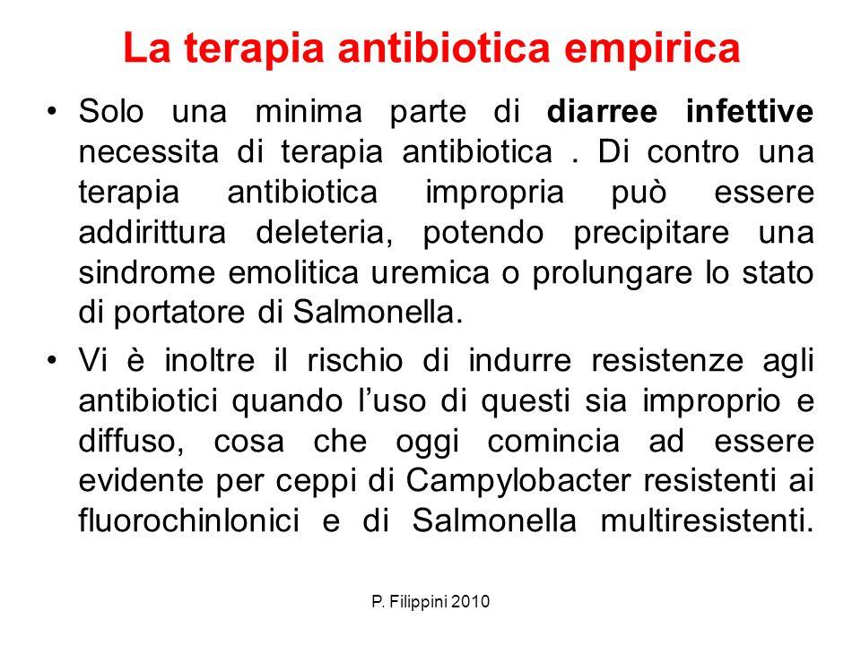 La terapia antibiotica empirica Solo una minima parte di diarree infettive necessita di terapia antibiotica. Di contro una terapia antibiotica impropr