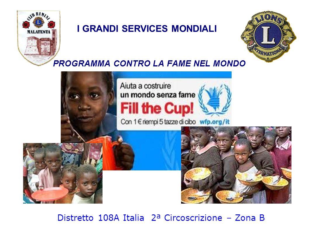 I GRANDI SERVICES MONDIALI PROGRAMMA CONTRO LA FAME NEL MONDO Distretto 108A Italia 2ª Circoscrizione – Zona B