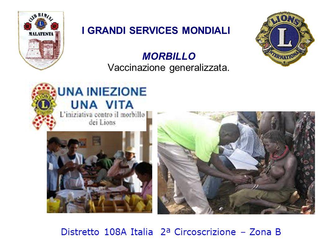 MORBILLO Vaccinazione generalizzata. I GRANDI SERVICES MONDIALI Distretto 108A Italia 2ª Circoscrizione – Zona B