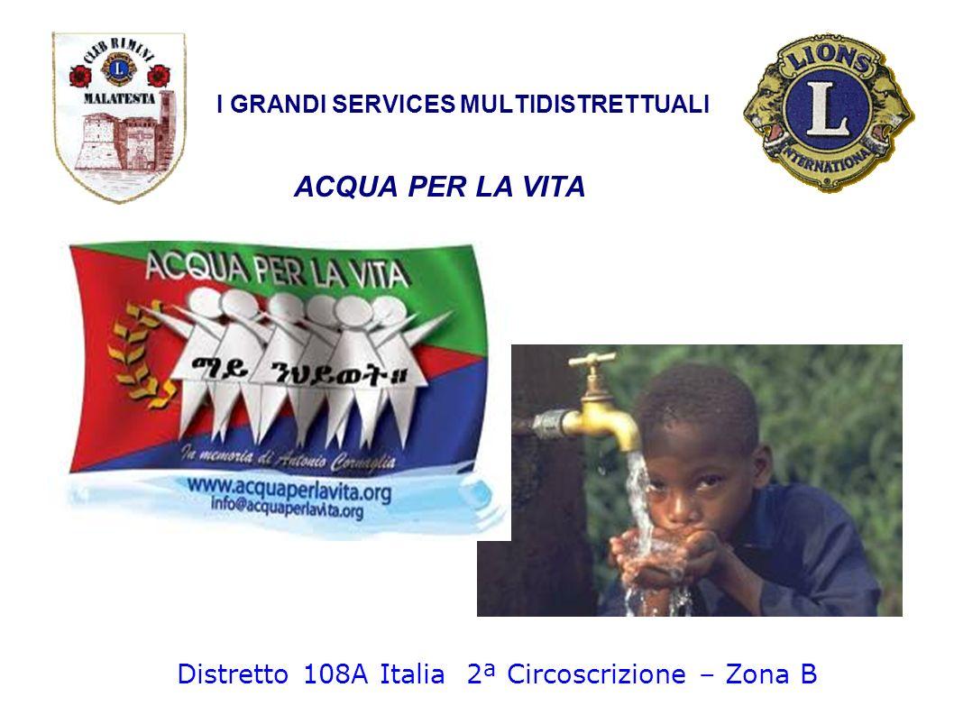 ACQUA PER LA VITA I GRANDI SERVICES MULTIDISTRETTUALI Distretto 108A Italia 2ª Circoscrizione – Zona B