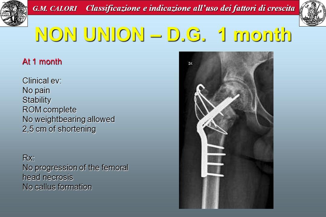 NON UNION – D.G. 1 month G.M. CALORI Classificazione e indicazione alluso dei fattori di crescita G.M. CALORI Classificazione e indicazione alluso dei