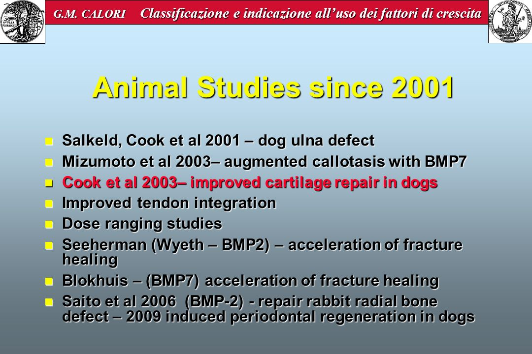 Animal Studies since 2001 Salkeld, Cook et al 2001 – dog ulna defect Salkeld, Cook et al 2001 – dog ulna defect Mizumoto et al 2003– augmented callota
