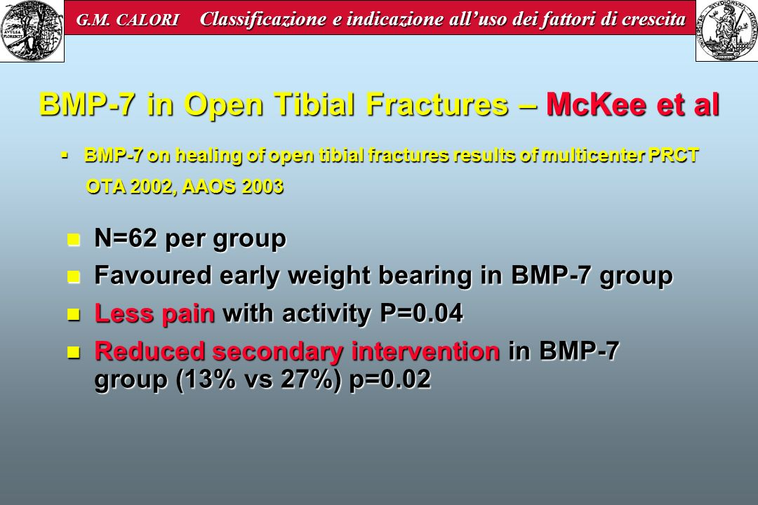BMP-7 on healing of open tibial fractures results of multicenter PRCT OTA 2002, AAOS 2003 BMP-7 on healing of open tibial fractures results of multice