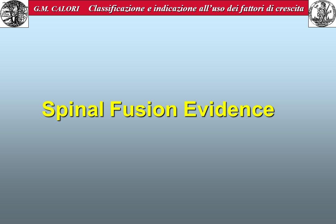 Spinal Fusion Evidence G.M. CALORI Classificazione e indicazione alluso dei fattori di crescita G.M. CALORI Classificazione e indicazione alluso dei f