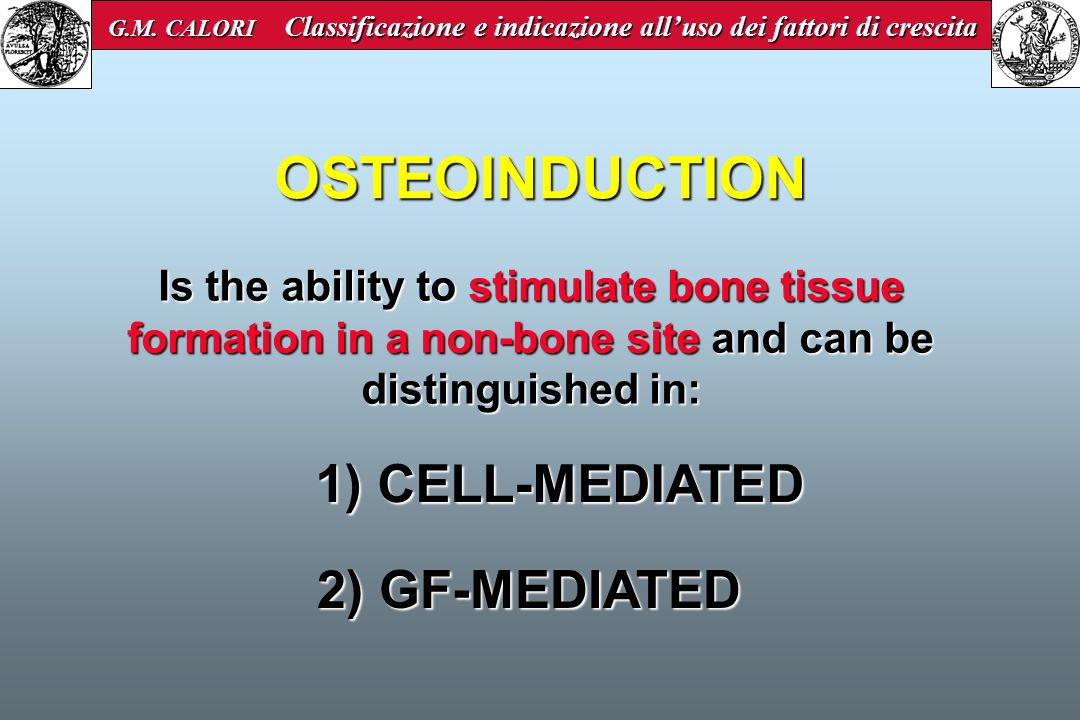Is the ability to stimulate bone tissue formation in a non-bone site and can be distinguished in: 1) CELL-MEDIATED 2) GF-MEDIATED 2) GF-MEDIATED OSTEO