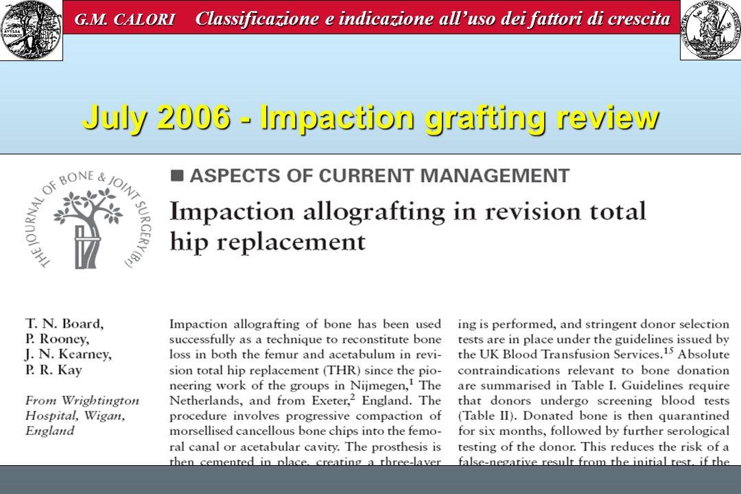 July 2006 - Impaction grafting review G.M. CALORI Classificazione e indicazione alluso dei fattori di crescita G.M. CALORI Classificazione e indicazio