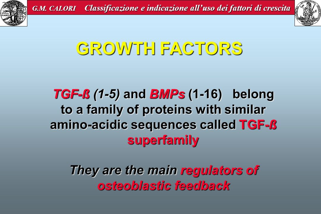 PRP Platelet Derived Growth Factor PDGF-ßß PDGF-aa PDGF-aa PDGF-aß PDGF-aß Transforming Growth Factor beta TGF-ß1 TGF-ß2 TGF-ß2 Vascular Endothelial Growth Factor VEGF Epithelial Growth Factor EGF Insuline Growth Factor IGF1-2 INDUCEOSTEOGENESIS Activated platelets degranulate and release various GF and cytokines: G.M.