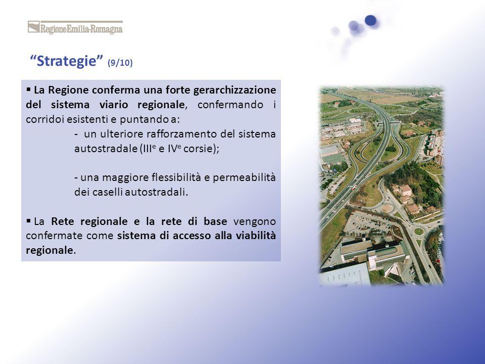 Strategie (9/10) La Regione conferma una forte gerarchizzazione del sistema viario regionale, confermando i corridoi esistenti e puntando a: - un ulte