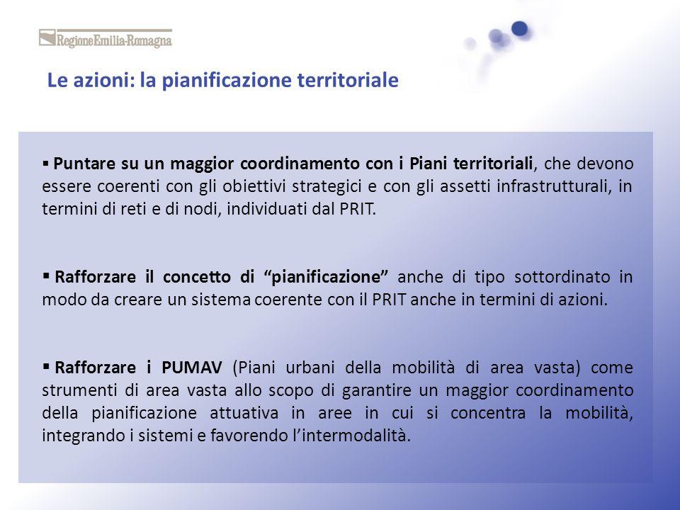 Le azioni: la pianificazione territoriale Puntare su un maggior coordinamento con i Piani territoriali, che devono essere coerenti con gli obiettivi s