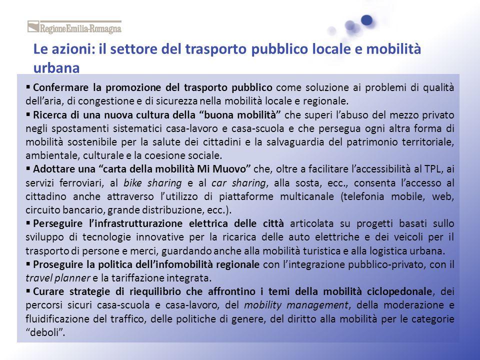 Le azioni: il settore del trasporto pubblico locale e mobilità urbana Confermare la promozione del trasporto pubblico come soluzione ai problemi di qu