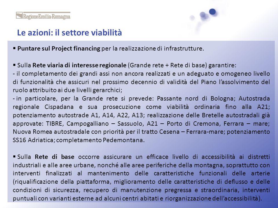 Le azioni: il settore viabilità Puntare sul Project financing per la realizzazione di infrastrutture. Sulla Rete viaria di interesse regionale (Grande