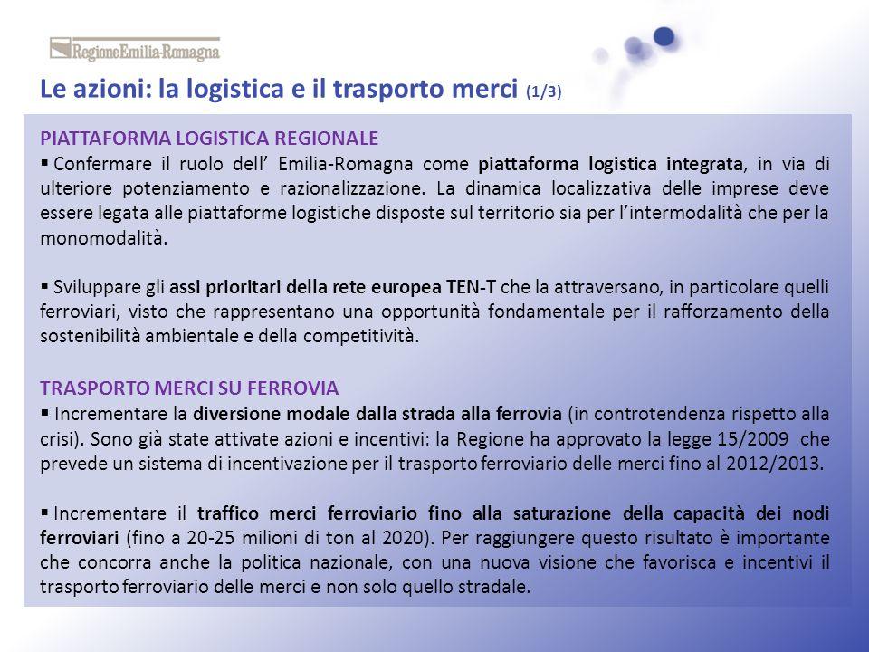 Le azioni: la logistica e il trasporto merci (1/3) PIATTAFORMA LOGISTICA REGIONALE Confermare il ruolo dell Emilia-Romagna come piattaforma logistica