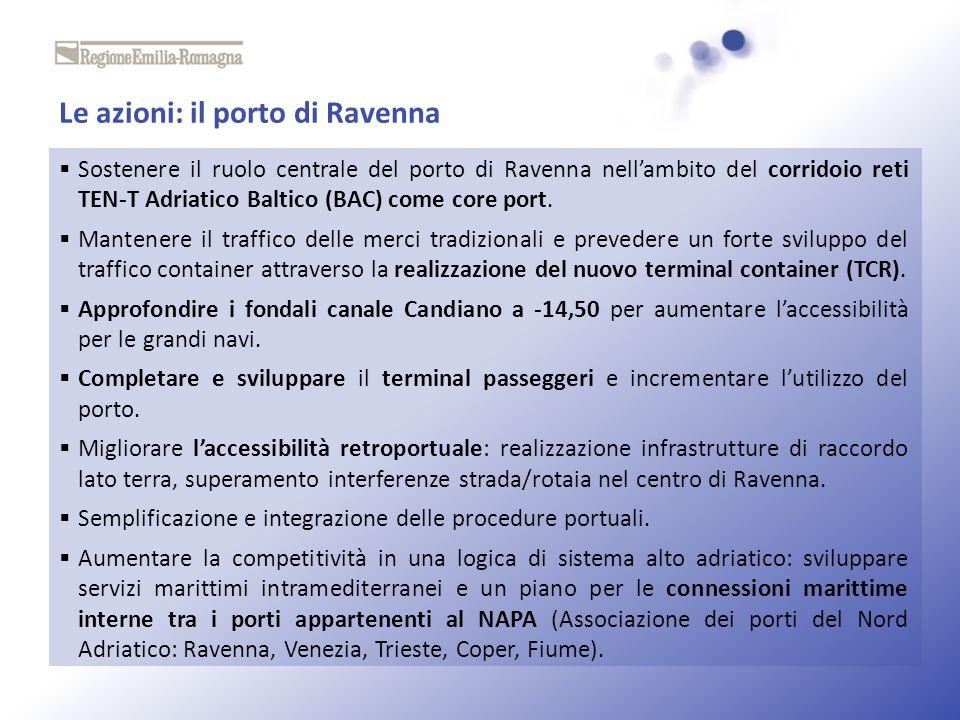 Le azioni: il porto di Ravenna Sostenere il ruolo centrale del porto di Ravenna nellambito del corridoio reti TEN-T Adriatico Baltico (BAC) come core