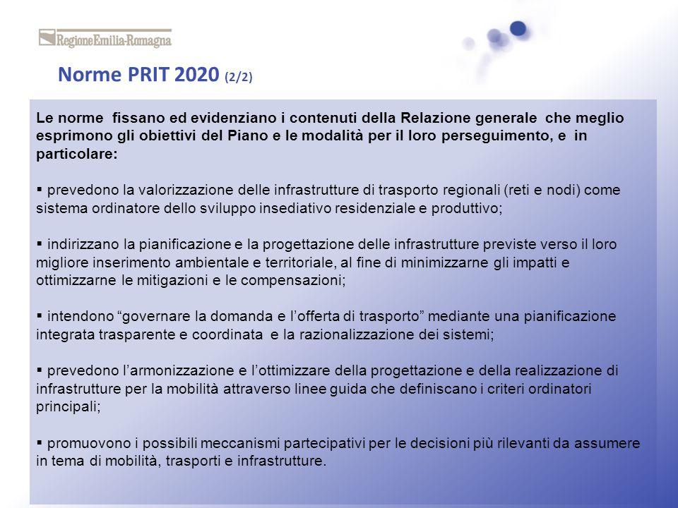 Norme PRIT 2020 (2/2) Le norme fissano ed evidenziano i contenuti della Relazione generale che meglio esprimono gli obiettivi del Piano e le modalità