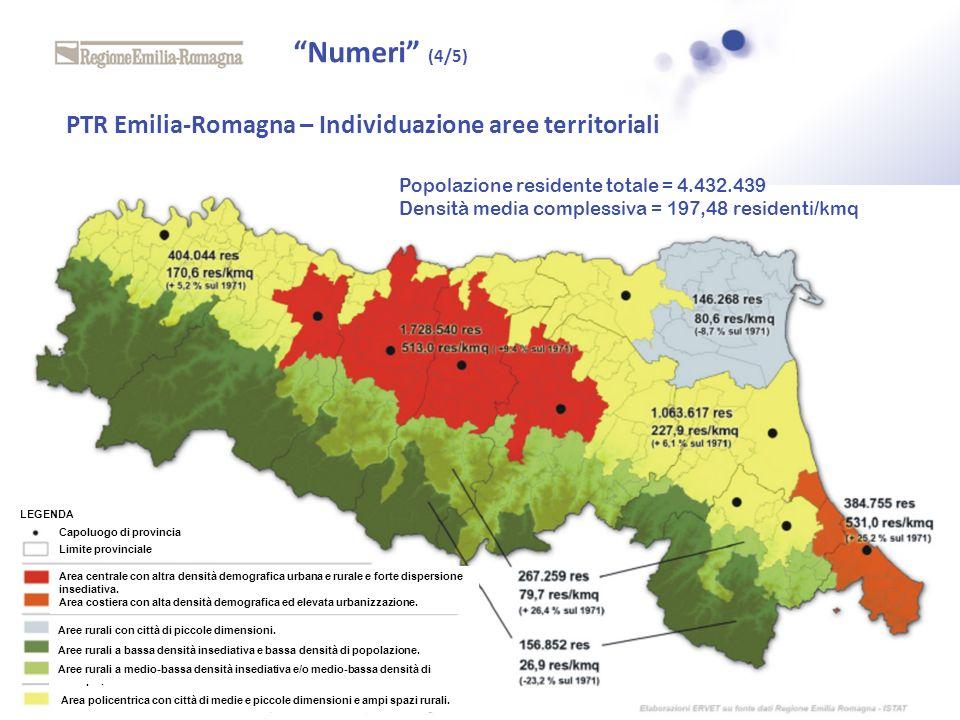 PTR Emilia-Romagna – Individuazione aree territoriali Capoluogo di provincia Limite provinciale Area centrale con altra densità demografica urbana e r