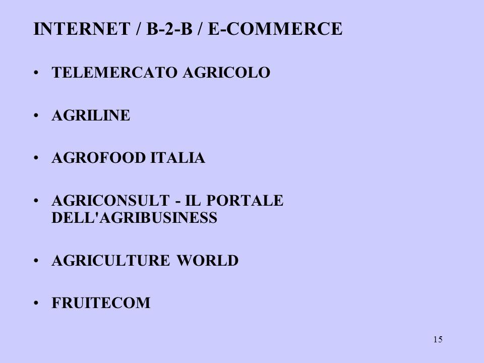 15 INTERNET / B-2-B / E-COMMERCE TELEMERCATO AGRICOLO AGRILINE AGROFOOD ITALIA AGRICONSULT - IL PORTALE DELL AGRIBUSINESS AGRICULTURE WORLD FRUITECOM