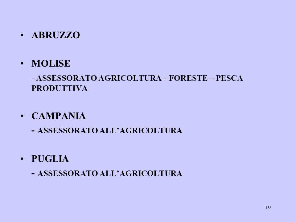 19 ABRUZZO MOLISE - ASSESSORATO AGRICOLTURA – FORESTE – PESCA PRODUTTIVA CAMPANIA - ASSESSORATO ALLAGRICOLTURA PUGLIA - ASSESSORATO ALLAGRICOLTURA