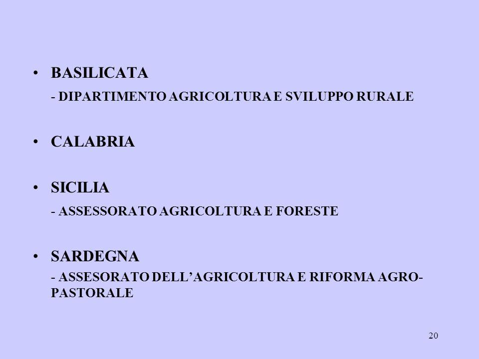 20 BASILICATA - DIPARTIMENTO AGRICOLTURA E SVILUPPO RURALE CALABRIA SICILIA - ASSESSORATO AGRICOLTURA E FORESTE SARDEGNA - ASSESORATO DELLAGRICOLTURA E RIFORMA AGRO- PASTORALE