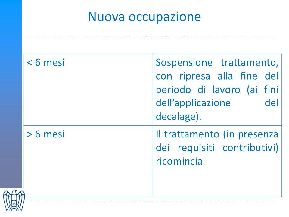 Nuova occupazione < 6 mesiSospensione trattamento, con ripresa alla fine del periodo di lavoro (ai fini dellapplicazione del decalage).