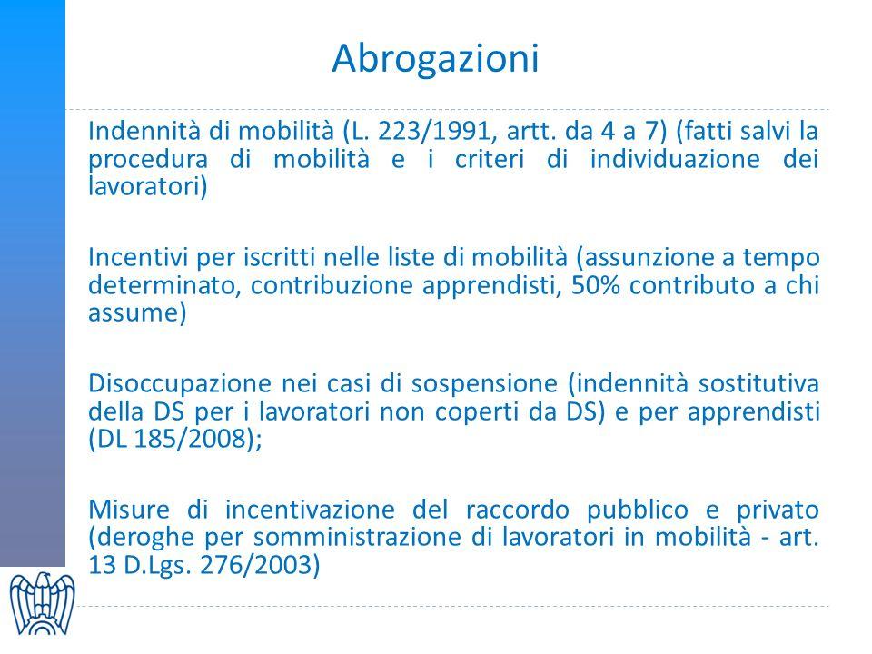 Abrogazioni Indennità di mobilità (L. 223/1991, artt.