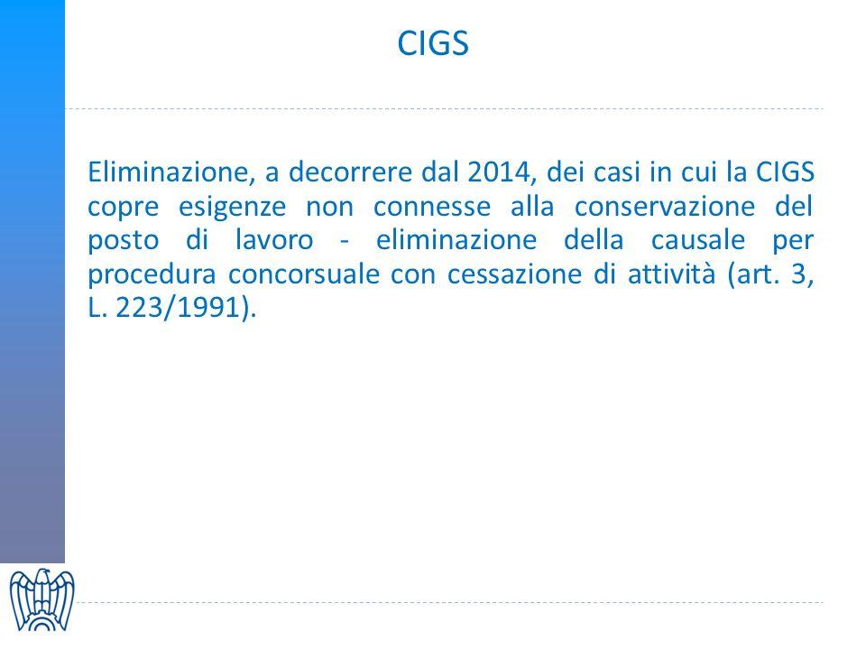 CIGS Eliminazione, a decorrere dal 2014, dei casi in cui la CIGS copre esigenze non connesse alla conservazione del posto di lavoro - eliminazione della causale per procedura concorsuale con cessazione di attività (art.