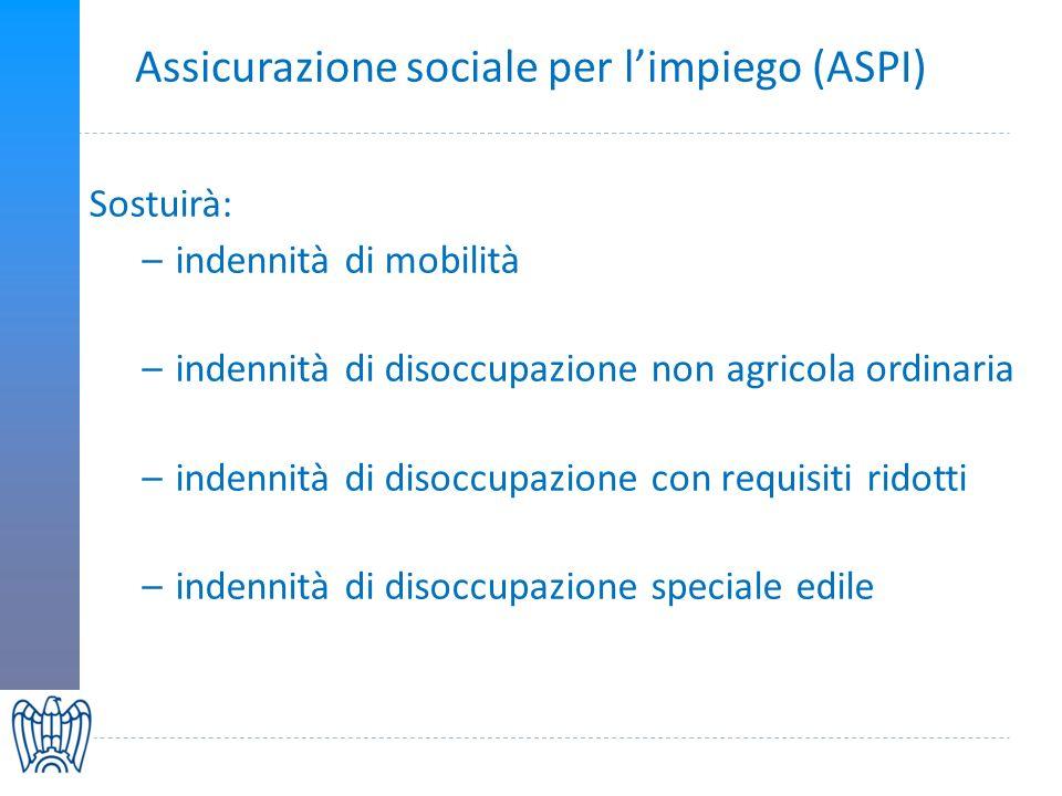 Assicurazione sociale per limpiego (ASPI) Sostuirà: –indennità di mobilità –indennità di disoccupazione non agricola ordinaria –indennità di disoccupazione con requisiti ridotti –indennità di disoccupazione speciale edile