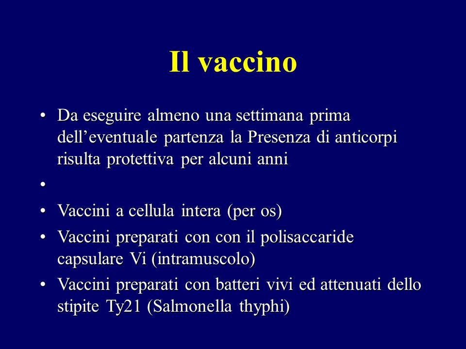 Il vaccino Da eseguire almeno una settimana prima delleventuale partenza la Presenza di anticorpi risulta protettiva per alcuni anniDa eseguire almeno
