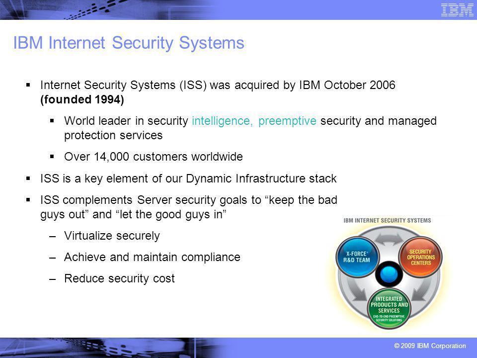 © 2009 IBM Corporation La missione di X-Force®, il gruppo di ricerca e sviluppo di IBM Internet Security Systems è : Ricercare e valutare nuove minacce e protezioni Sviluppare tecnologie di assessment e contromisure Sviluppare nuove tecnologie per le sfide di domani Educare i media e le comunità di utenti Ecco i numeri… 9.1B pagine Web & immagini Web analizzate dal 1999 –150 milioni nuove aggiunte al mese 150M tentativi di intrusione monitorati giornalmente da IBM ISS Managed Security Services 40M attacchi spam & phishing 40K vulnerabilità documentate Milioni di esempi unici di malware Gestione di più di 4B di eventi di sicurezza al giorno per cliente Il Report X-Force Trend & Risk