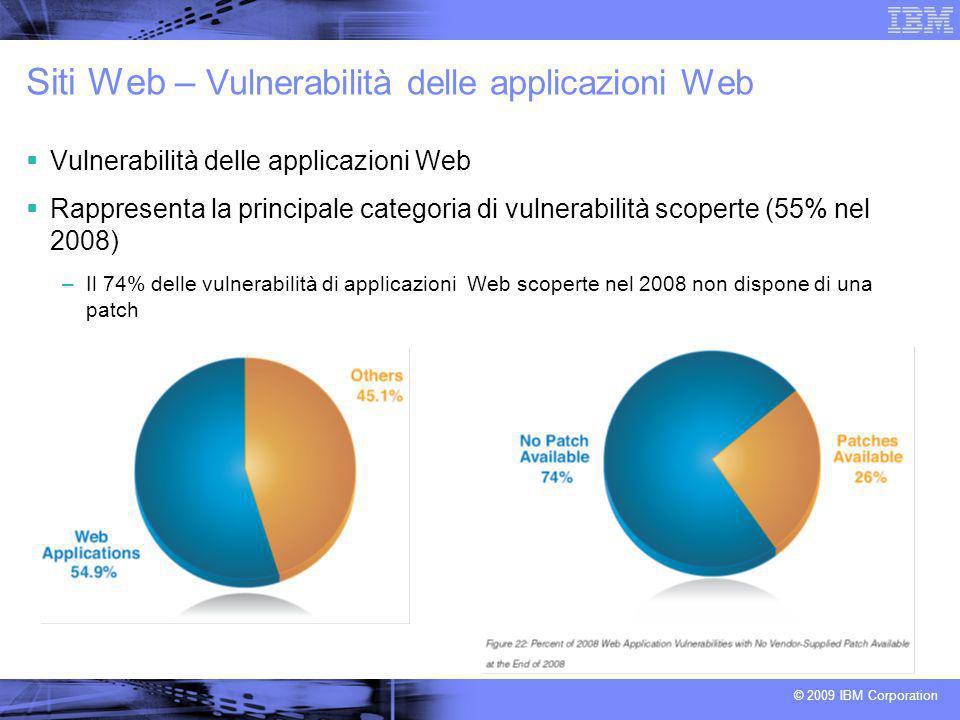 © 2009 IBM Corporation Siti Web – Vulnerabilità delle applicazioni Web Vulnerabilità delle applicazioni Web Rappresenta la principale categoria di vul