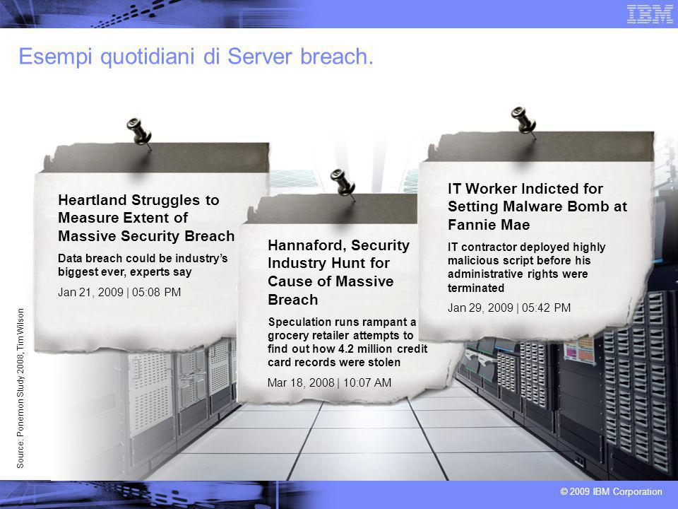 © 2009 IBM Corporation Esempi quotidiani di Server breach.